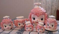 Lefton Pink Poodle Chef Cookie Jar Cream Sugar Salt Pepper Jam Jar Set