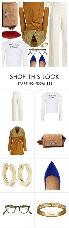 """""""Winter Whites FT. Rosegal"""" by amberelb ❤ liked on Polyvore featuring The Row, Jennifer Meyer Jewelry, Oliver Peoples, Cartier and Gucci"""