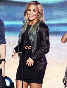 Demi Lovato: Short Dress, Leather Jacket