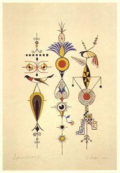 Birds and Ornament (illustration), by Takeo Takei. Japan Illustration, Antique Illustration, Arte Popular, Japanese Graphic Design, Japanese Art, Bird Graphic, Motifs Art Nouveau, Art Japonais, Tatoo Art