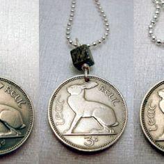 Irish Jewelry - Coin Jewelry - IRELAND RABBIT necklace - Irish hare - harp - celtic - Year of the Rabbit - rabbit necklace - bunny - lapin