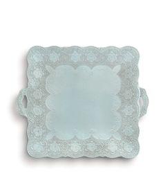 Arte Italica Merletto Aqua Square Platter with Handles