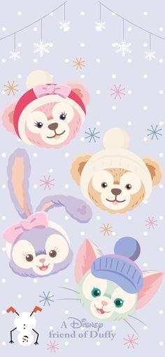 Sanrio Wallpaper, Disney Phone Wallpaper, Friends Wallpaper, Bear Wallpaper, Iphone Background Wallpaper, Kawaii Wallpaper, Duffy The Disney Bear, Disney Background, Cute Love Gif
