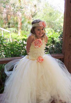 Flower girl dress, Ivory Flower girl tutu dress with by Gurliglam, $125.00