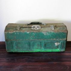 Vintage Green Tackle Box / Retro Metal Tool Box by MidMod on Etsy, $50.00