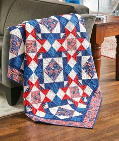 Nancy Mahoney loves designing two-block quilts. Star patterns, like this Quilt of Valor called Bountiful Stars, are stunning with patriotic prints and paired blocks!