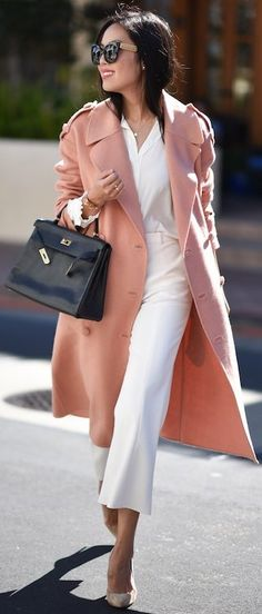 #fall #street #style   Pink + Black And White