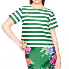NWTSALEKate Spade green stripe ramona top Cheerful green striped top made of a soft cotton and silk blend. The back has a zipper detail. kate spade Tops Tees - Short Sleeve
