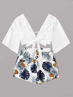Plunging Self-Tie Top & Tropical Print Shorts Set Cute Comfy Outfits, Cute Girl Outfits, Cute Summer Outfits, Swag Outfits, Outfits For Teens, Stylish Outfits, Girls Fashion Clothes, Summer Fashion Outfits, Fashion Dresses