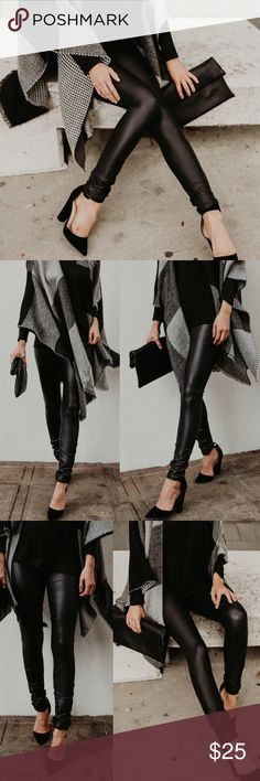 3 PAIRS!! ($20 a pair) Matte Faux Leather Leggings $25 FOR AN INDIVIDUAL PAIR!!! $60 IS FOR ALL 3!! Perfect for the holidays, dress up, be comfy and still look chic with these matte faux leather leggings! Ordered a bundle of three sizes from a boutique and I plan on wearing one for a Christmas event I have. They add flare to my outfit, but they aren't over the top if you're into just a little shine or sparkle. Highly recommend to any ladies looking for something like this! Individual sale…