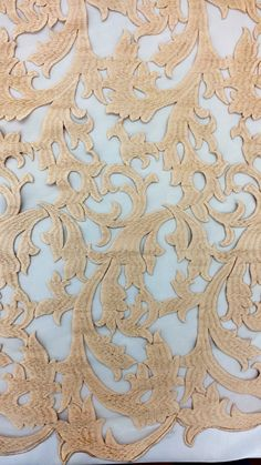 Champagne Gold Taupe Embroidered Lace Flame Ivy Vines  Fabric By the Yard Sophisticated Elegant Pattern Buff Ecru