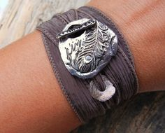 Love this beautiful silk ribbon and silver bracelet