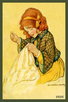Olde America Antiques | Quilt Blocks | National Parks | Bozeman Montana : Jessie Willcox Smith - Young Girl Sewing 7a