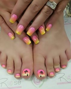 I got island colored nails for our vacation this week! Thank you Paula at Pedicure Nail Art, Pedicure Designs, Toe Nail Designs, Toe Nail Art, Beach Nail Designs, Cute Summer Nail Designs, Pretty Toe Nails, Cute Toe Nails, Hawiian Nails