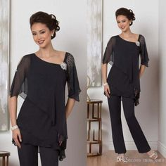 Cheap Two Piece Black Mother Of The Bride Pants Suit For Weddings Beads Chiffon Mother Groom Pant Suits Long Sleeve Wedding Guest Dress Mother Of The Bride Suits, Mother Of Groom Dresses, Mothers Dresses, Bride Dresses, Mother Bride, Mother Of The Bride Plus Size, Plus Size Formal Dresses, Formal Evening Dresses, Formal Gowns
