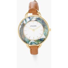 Chico's Audrina Watch (786.295 IDR) ❤ liked on Polyvore featuring jewelry, watches, neutral, chicos watches, leather wrist watch, leather band watches, gold tone jewelry and gold-tone watches