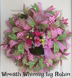 Mother's Day Deco Mesh Pink & Lime Floral by WreathWhimsybyRobin