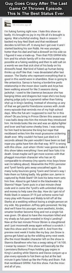 Epic status from a Game Of Thrones fan