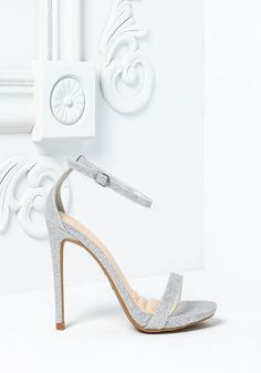 Silver Leatherette Ankle Strap Heels - LoveCulture.com ♡
