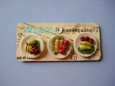SALE fruit and vegetables buttons by VINTAGEhaberdashery on Etsy, $10.00