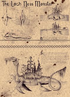 The Loch Ness Monster (Nessie) - Folklore Art Print Myths & Monsters, Monster Book Of Monsters, Monster Art, Mythical Creatures Art, Mythological Creatures, Magical Creatures, Mythological Monsters, Legends And Myths, Loch Ness Monster