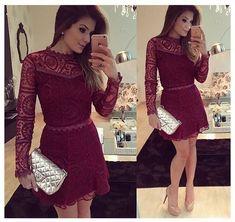 Vestido # lace # vinho