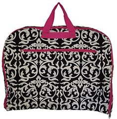 Fashion Print Travel Garment Bag with Extended Hanger (Damask with Pink Trim - 501-F-1) -- Check out the image by visiting the link.