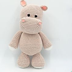Hippo crochet Crochet Hippo, Bobble Crochet, Crochet Animal Amigurumi, Crochet Amigurumi Free Patterns, Crochet Patterns For Beginners, Knit Or Crochet, Crochet Animals, Crochet Toys, Free Crochet