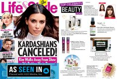 """""""Top Celebrity Beauty Picks"""" advertorial page in October 24, 2016 issue of Life & Style   Feat. Mia Beauty, Ella Paradis, Palmetto Derma, Alexa Persico Cosmetics, The Vanity Lab, Hairfinity & Deodorant Stones of America   Designed and placed by h2o media inc."""