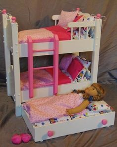 American Girl Doll Bunk Bed With Trundle Bed And 13 Piece Bedding Set