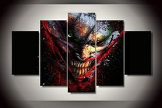 5 Piece Multi Panel Modern Home Decor Framed The Joker DC Comic Wall Canvas Art - Octo Treasures - 1 3 Canvas Art, Canvas Poster, Canvas Wall Art, Poster Prints, Painting Canvas, Joker Comic, Joker Dc, Batman Wall Art, Custom Canvas Prints