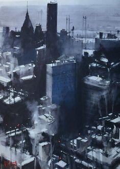 NY by Alvaro Castagnet Watercolor City, Watercolor Artists, Watercolor Techniques, Watercolor Landscape, Watercolour Painting, Watercolors, City Landscape, Urban Landscape, Watercolor Architecture