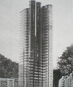 Mies van der Rohe, modèle de gratte-ciel en verre, 1922