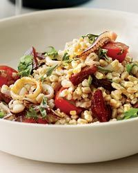 Farro Salad with Squid and Chorizo Recipe from Food & Wine...looks good minus the squid and veggie style with soychorizo!