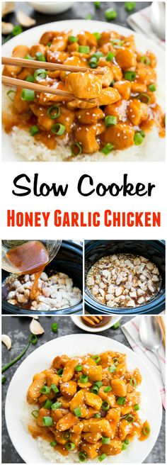 Slow Cooker Honey Garlic Chicken. An easy weeknight meal, with super tender and…