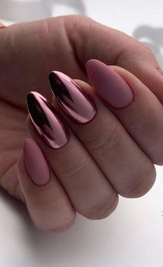 39 Hottest Awesome Summer Nail Design Ideas for 2019 Part 27 - Summer Nails - Nagellack Cute Acrylic Nails, Acrylic Nail Designs, Nail Art Designs, Nails Design, Metallic Nails, Matte Nail Art, Acrylic Summer Nails Almond, Matte Almond Nails, Matte Nails Glitter