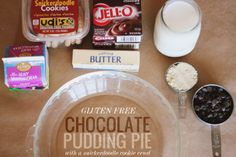 Gluten Free Chocolate Pudding Pie using a gf cookie (!) crust, yum!