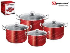 """4pc CASSEROLE SET """"RUBY"""" - SQ Professional brings you its brand new flagship 'Gems' range of cookware. This sets sparkles with the brilliance of the gemstones after which it is named. Made from high quality stainless steel, they come complete with vented, tempered glass lids. You can be certain that a set from the Gems range will be the talking point in any kitchen. Dimensions: 3.7L - ø20cm x 12cm 