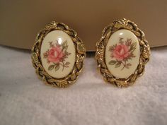 Gold Tone Cameo Hand Painted Pierced Earrings #Cameo