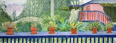 """David Hockney """"View From Terrace III"""" 2003 watercolor on paper (8 sheets) Paper: 36 1/4 x 96 in. (92.1 x 243.8 cm) 39 1/2 x 99 1/4 in. (100.3 x 252.1 cm) Private collection"""