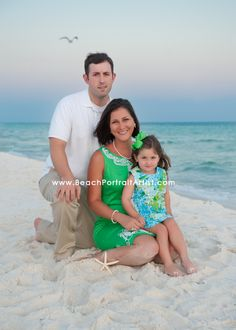 I like the green dress for beach family photos...make with sleeves.Cute family beach photo