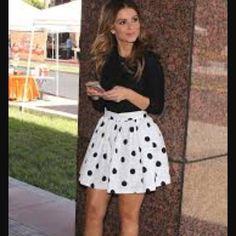 "Victoria Secret Polka Dot Skirt Soooooo cute. Jet black with velour polka dots. Great condition. Approx 13"" length from waist to bottom Victoria's Secret Skirts"