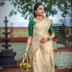 Set Saree, Half Saree Lehenga, Saree Look, Anarkali, Sari, Kerala Saree Blouse Designs, Half Saree Designs, Blouse Designs Silk, Dress Designs