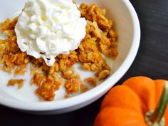 """It tastes like dessert, but is healthy enough for breakfast! Baked Pumpkin Pie Oatmeal is a great """"fix ahead"""" breakfast option. Step by step photos."""