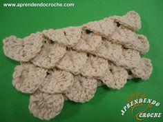Ponto de Crochê Crocodilo - Receita de Croche com o Passo a Passo no Link http://www.aprendendocroche.com/receitas-de-croche/video-aula.asp?resid=1358&tree=2