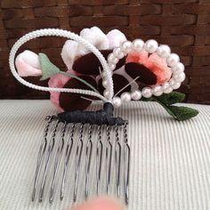 桜のつまみ細工の髪飾り