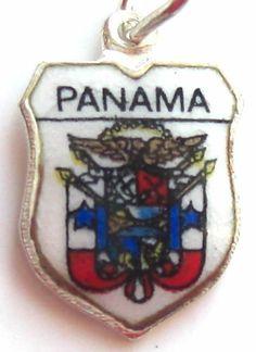 Panama Coat of Arms Silver Enamel Travel Shield Charm | eBay
