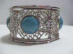 Silver Blue Victorian bracelet, Stretch Victorian Style Faux Turquoise bracelet, retro gift for her, Vintage jewelry, Gingerslittlegems by GingersLittleGems on Etsy