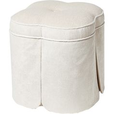 Complete your cozy reading nook with this stylish clover-shaped ottoman, showcasing a skirted design and button-tufted detail. Produc...