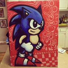 """Sonic the Hedgehog commission for @bead_spider as a surprise birthday gift for the fiancé… 18""""x 24"""" acrylic on canvas. First painting I've done in a while. #edbot5000 #eb5k #sonic #sonicthehedgehog #paint #painting #acrylic #canvas #vgart #videogames #sega #genesis #segagenesis #blastprocessing #commission #art"""